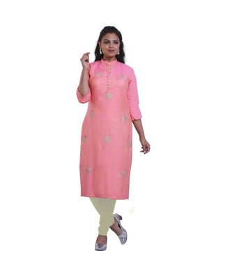 Designer pink embroidered kurta For Women