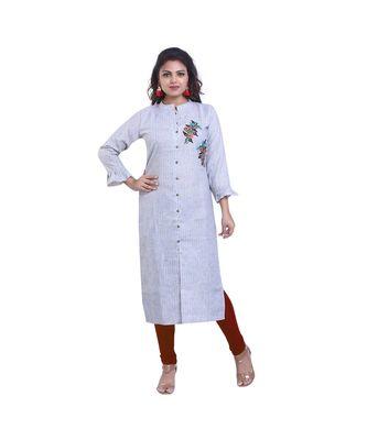 Designer Blue Striped Straight Kurta For Women