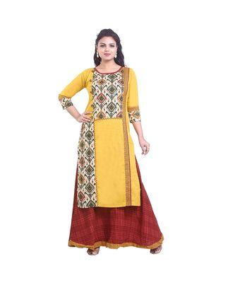 Designer Yellow & Maroon  Printed Kurta with Skirt For Women