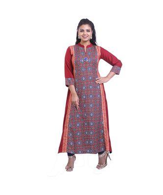 Designer Maroon Printed flared kurta For Women