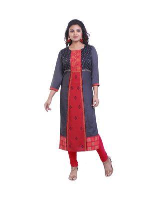 Designer grey & red Straight Kurta For Women