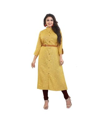 Designer Mustard Maxi Dress with Belt For Women