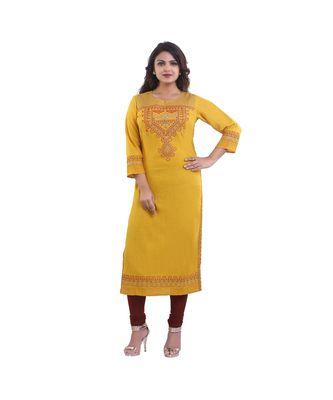 Designer Yellow embroidered kurta For Women