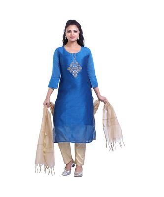 Designer Blue Kurta Churidar & Dupatta Set For Women