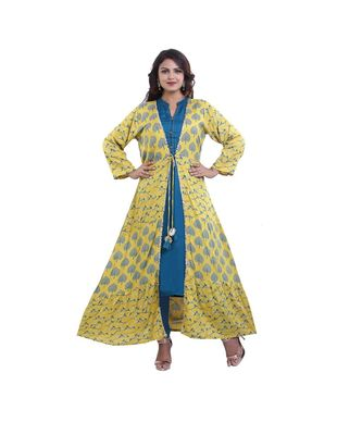 Designer Green Kurta & yellow Printed  Jacket For Women