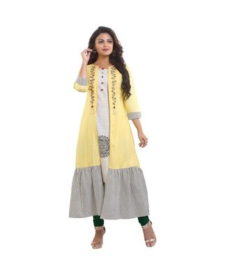 DesignerCream Printed Kurta with Attached Jacket  For Women