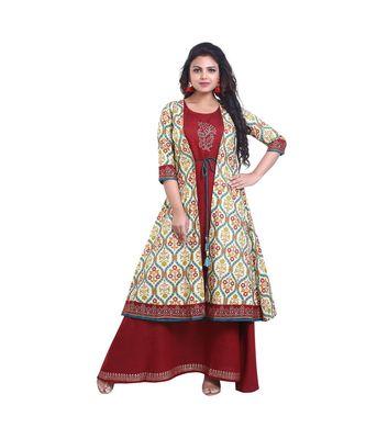 Designer Maroon Anarkali Kurta with Printed Jacket  For Women