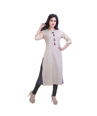 Cream kurta with attached jacket For Women