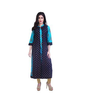 Turquoise kurta with jacket For Women