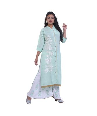 Designer Green embroidered Kurta with Palazzo  For Women