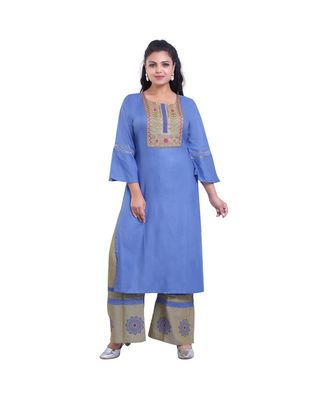 embroidered Kurta with Printed Palazzo  For Women