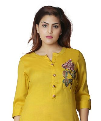 Yellow embroidered Kurti with Palazzo  For Women