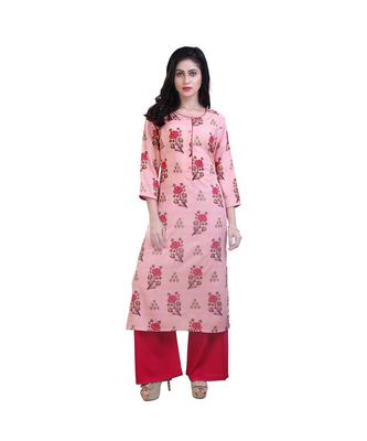 Pink Floral kurta and Palazzo  For Women