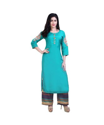 Green embroidered kurta with palazzo For Women