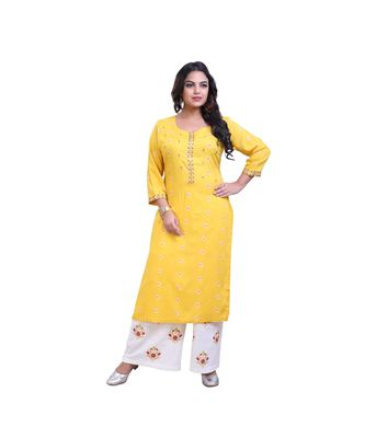 Yellow embroidered kurta with palazzo For Women