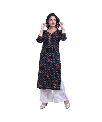embroidered black kurta and  palazzo For Women