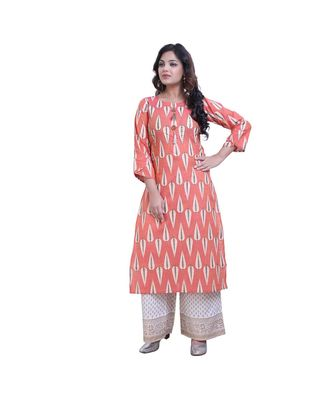 Peach Kurta with Printed Palazzo For Women