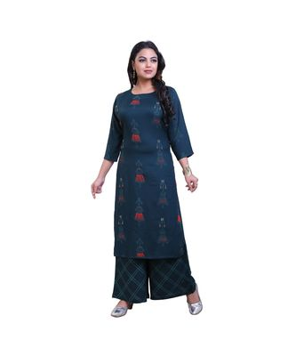 embellished kurta with palazzo For Women