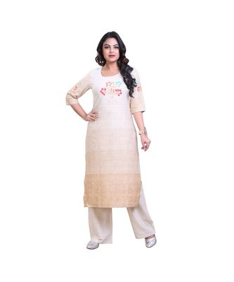 embroidered  cReam and Offwhite Kurta with Palazzo For Women