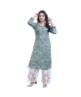 green Kurta with Palazzo For Women