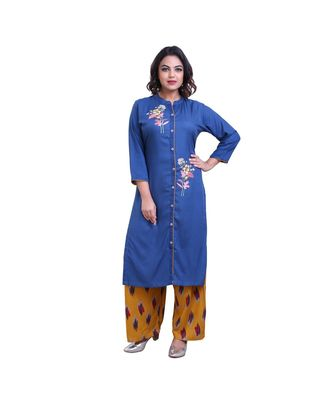 Blue Kurta With palazzo For Women