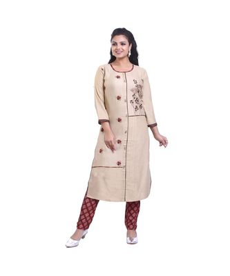 Designer Beige embroidered Kurta with Pant For Women