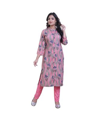 Pink Printed Kurta With Pant  For Women