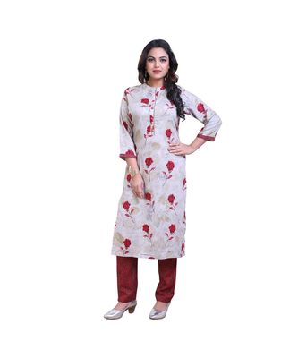 grey Floral kurti with pants For Women