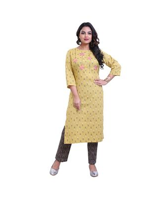 Floral Embroidery with Ekat print Kurta & Pant For Women