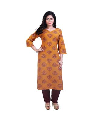 Mustard kurta with pants For Women