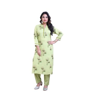Green Kurta With Pant For Women