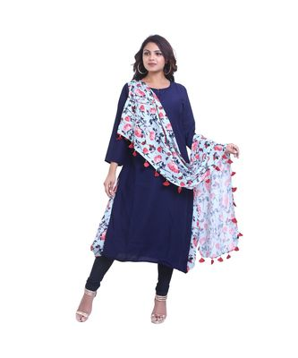 Designer Blue Kurta with attached Printed Dupatta For Women