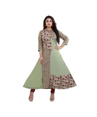 Designer Green and Beige Printed Anarkali Kurta For Women