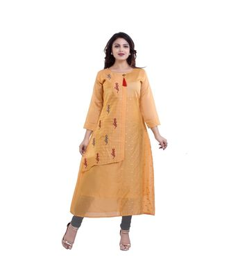 Designer Orange embroidered A-line Kurta  For Women