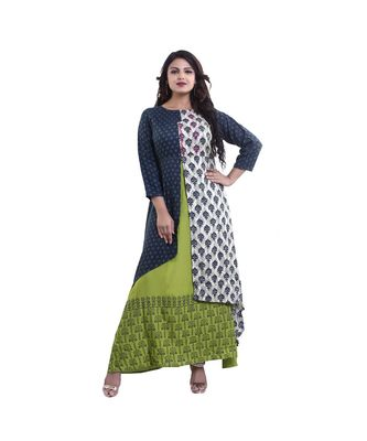Designer Green Printed Layered Gown For Women