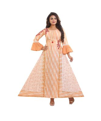 Peach Designer Printed and embroidered Anarkali dress For Women