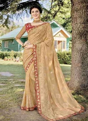 Beige embroidered fancy fabric saree with blouse