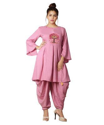 Pink Dhoti Kurta Set For Women