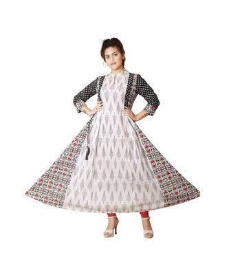 White & Black Printed Anarkali For Women