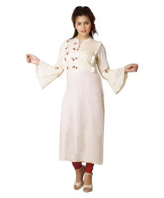 Yellow embroidered Kurti For Women
