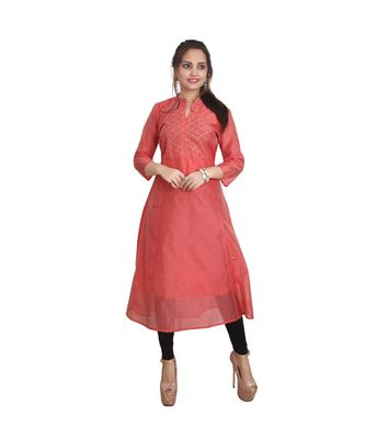 Peach Embellished Kurti For Women