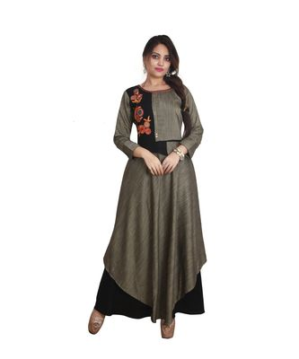 beige and Black embroidered Long Anarkali For Women