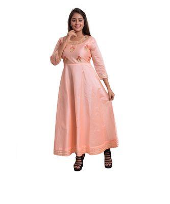 Peach Embellish Anarkali For Women