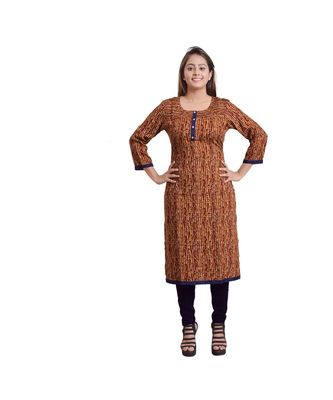 Brown Printed Kurti For Women