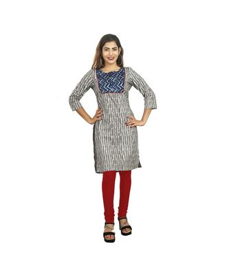 Grey Printed Kurti For Women