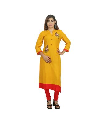 Mustard Embellished Kurti  For Women