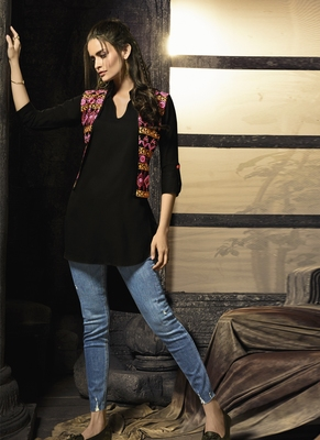Black embroidered cotton cotton-kurtis