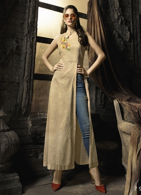 Beige embroidered cotton cotton-kurtis