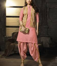 Peach embroidered cotton cotton-kurtis