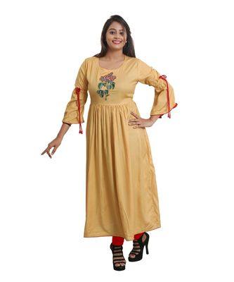 Cream embroidered Kurta For Women